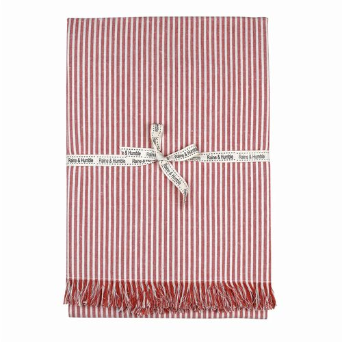 Bee Collection - Tablecloth - Striped - Terracotta Red